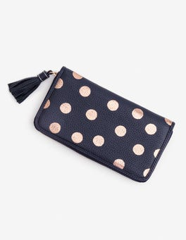 Navy/Rose Gold Spot Leather Purse