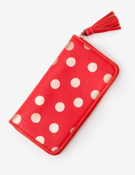 Red Pop/Rose Gold Spot Leather Purse