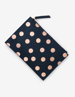 Navy/Rose Gold Spot Leather Keepsake Pouch