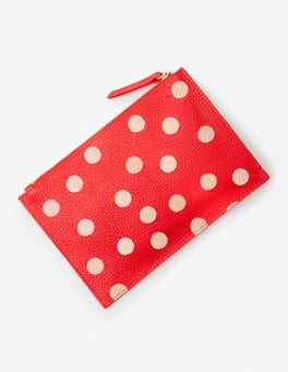 Red Pop/Rose Gold Spot Leather Keepsake Pouch