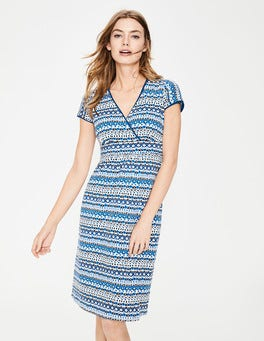 Blues Folk Stripe Casual Jersey Dress