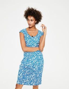 China Blue Folk Mono Margot Jersey Dress