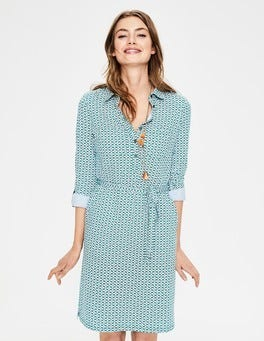 Sap Green Floral Tile Jena Jersey Shirt Dress