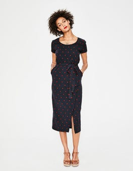 Navy Spaced Spot Hallie Jersey Dress