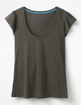 Charcoal Marl Supersoft Flutter Tee