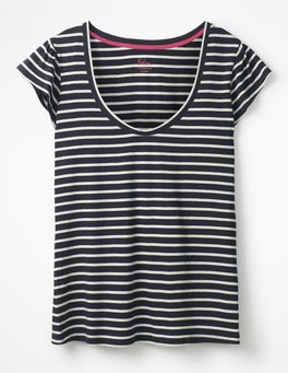 Navy/Ivory Supersoft Flutter Tee