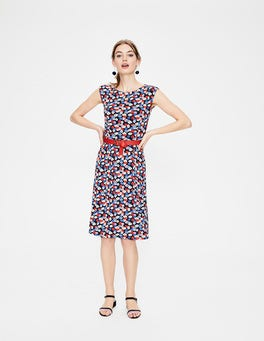 Navy Poppy Meadow Marina Jersey Dress