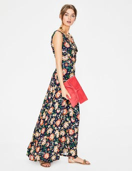 Blue Tropical Floral Georgia Maxi Dress