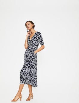 Navy Summer Leaves Kassidy Jersey Dress