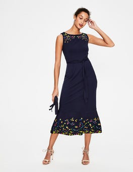 Navy Hattie Embroidered Dress