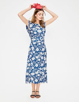 Opulent Blue Tropical Floral Adelina Jersey Dress