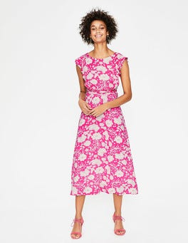 Party Pink Tropical Floral Adelina Jersey Dress