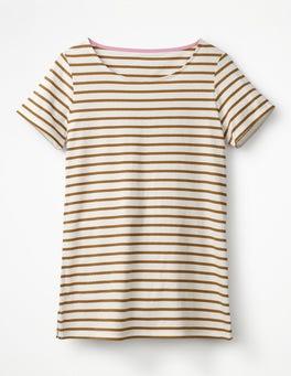 Naturweiß/Lebkuchen Kurzärmeliges Bretonshirt
