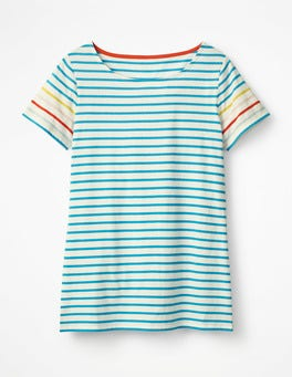 Blue Lagoon Multi Stripe Short Sleeve Breton
