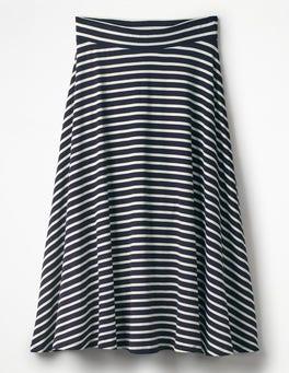 Navy/Ivory Stripe Jersey Midi Skirt