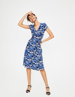 Blues Bouquet Summer Wrap Dress