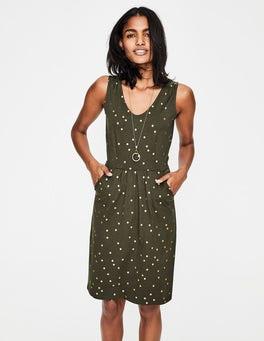 Khaki Foil Spot Melinda Jersey Dress