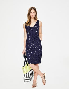 Navy Foil Spot Melinda Jersey Dress