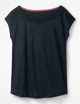 Navy Linen Boatneck Jersey Top