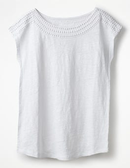 White Linen Boatneck Jersey Top