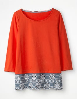 Jersey Broderie Overlay Top