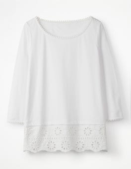 White Jersey Broderie Overlay Top