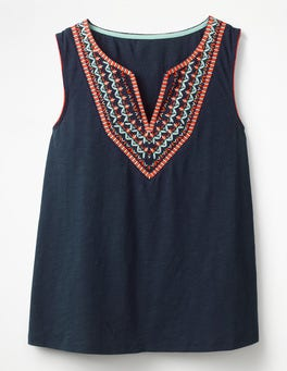 French Navy Embroidered Notch Neck Top