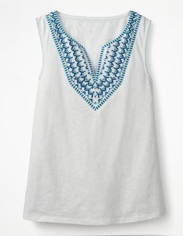 White Embroidered Notch Neck Top