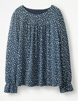 Navy Ditsy Daisy Printed Flared Cuff Top