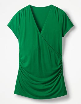 Sap Green Short Sleeve Wrap Top