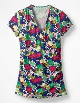 Multi Bouquet Short Sleeve Wrap Top
