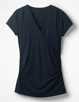 Navy Short Sleeve Wrap Top