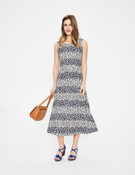 Navy Posy Stripe Rosamund Jersey Dress