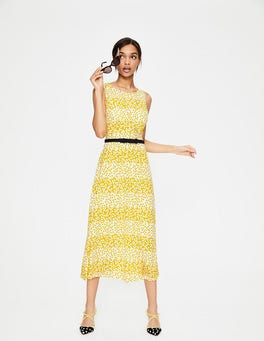 Mimosa Yellow Posy Stripe Rosamund Jersey Dress