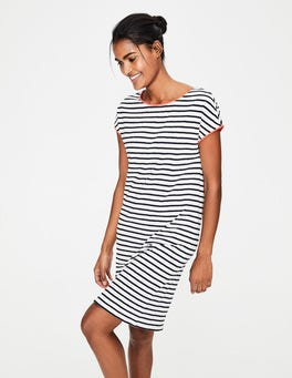 Ivory and Navy Stripe Paulina Jersey Dress