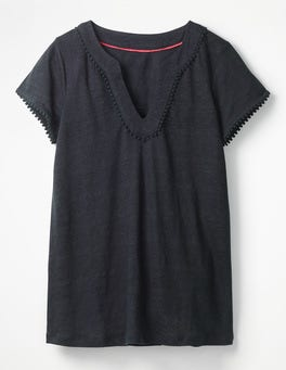 Navy Linen Notch Neck Jersey Top