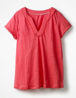 Coral Sunset Linen Notch Neck Jersey Top