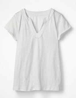 White Linen Notch Neck Jersey Top