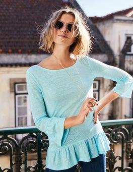 Linen Flare Jersey Top