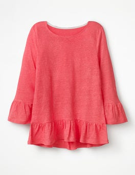Coral Sunset Linen Flare Jersey Top