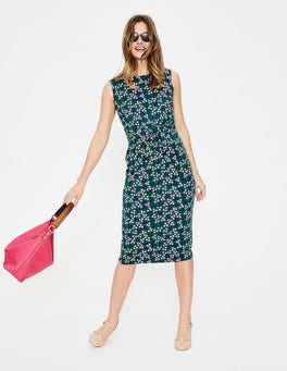 Sap Green Pretty Posy Tie Waist Jersey Dress