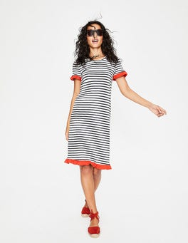 Ivory/Navy Stripe Colourblock Emily Jersey Dress