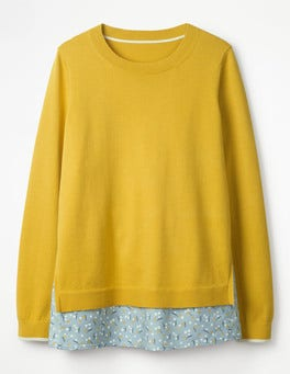 Mimosa Yellow Mya Woven Mix Jumper