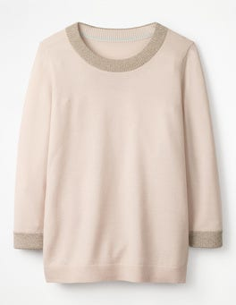 Pink Pearl Sparkle Trim Knitted Jumper