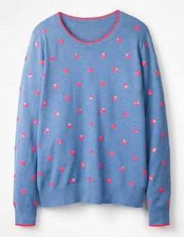 Chambray Melange Ana Embellished Sweater