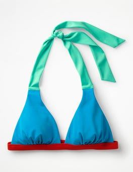 Blue Gem Colourblock Positano Halter Bikini Top