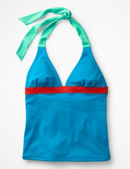 Blue Gem Colourblock Positano Halter Tankini Top