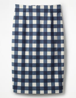 Navy Gingham Richmond Pencil Skirt