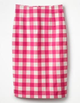Bright Pink Gingham Richmond Pencil Skirt