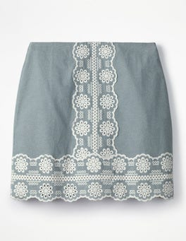Chambray Fun Embroidered Skirt
